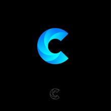 C Letter Monogram. C Helix Logo. Web, UI Icon. Blue Vortex Logo On A Black Background. Contour Option.