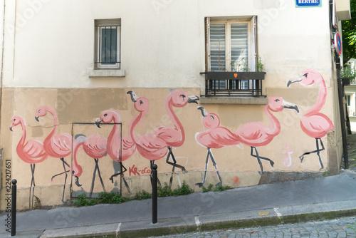 Foto op Aluminium Graffiti Rue et graffiti, Montmartre, Paris