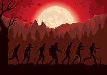 Silhouette Crowd Of Zombies Wa...