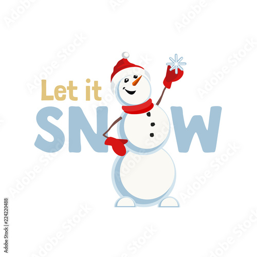 Holiday Wishes Let It Snow Fancy Letters Cartoon Playful Fun