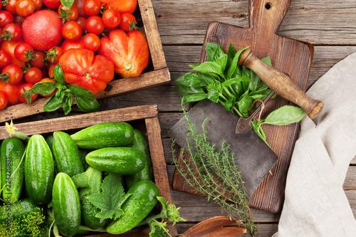 Świeże ogrodowe pomidory i ogórki