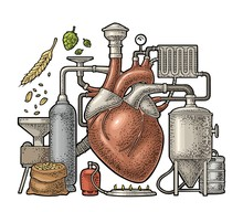 Brewery Process On Factory Beer With Tanks, Burner, Heart Engraving