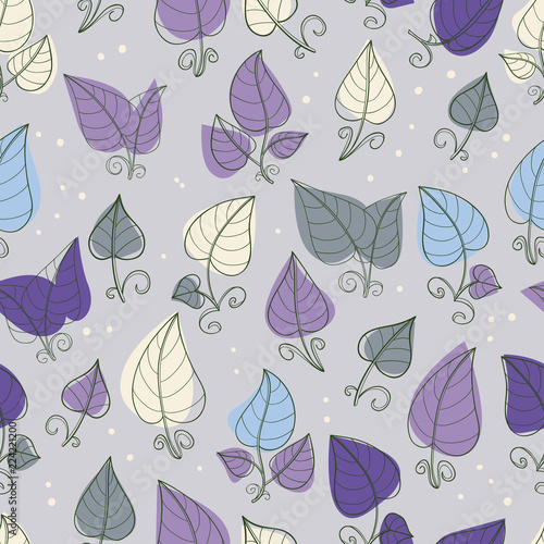 Foto op Canvas Kunstmatig Seamless pattern of hand-drawn and colored leaves.Vector graphics .