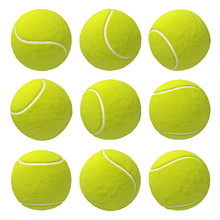 3d Rendering Of Nine Similar Bright Yellow Tennis Balls Hanging On White Background In Different Angles.
