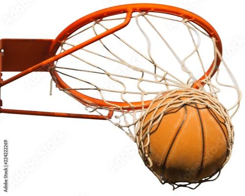 Leinwand Poster Basketball ball hitting basket on white background
