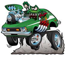Seventies Green Hot Rod Funny ...