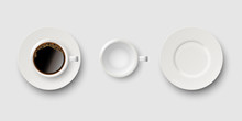Set Of Coffee Accessories, Coffee Cup With Coffee, Empty Cup And Saucer Isolated On Gray Background. Vector Realistic Illustration.