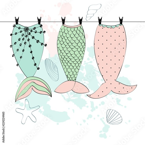 Photographie  Vector hand drawn illustration with mermaid tails
