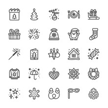 Merry Christmas Flat Line Icons. Pine Tree Toys, Snowflake, Presents On Sleigh, Card, Sparkler, Winter House, Sweater, Decoration Vector Illustrations. Pixel Perfect 48x48. Editable Strokes