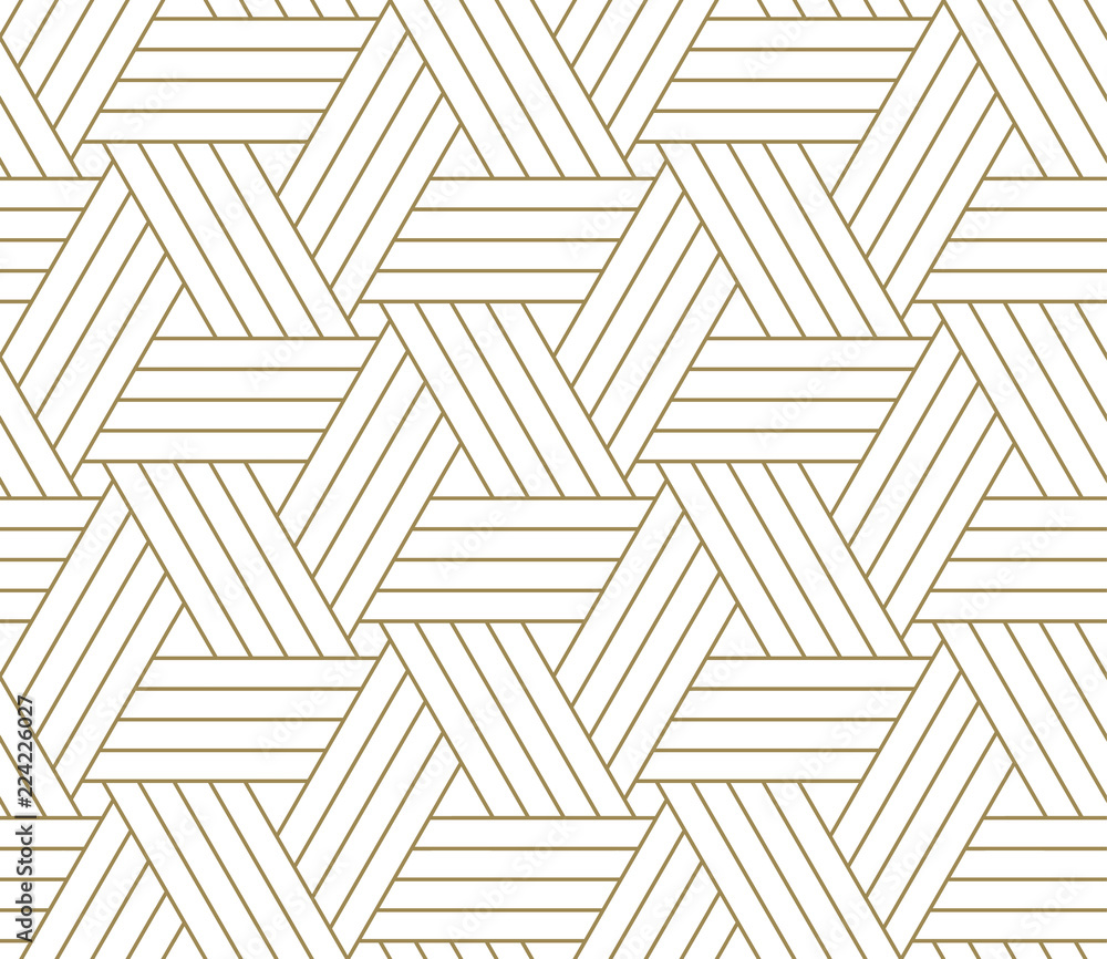 Fototapeta Modern simple geometric vector seamless pattern with gold line texture on white background. Light abstract wallpaper, bright tile backdrop.