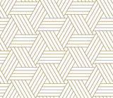 Modern simple geometric vector seamless pattern with gold line texture on white background. Light abstract wallpaper, bright tile backdrop. - 224226027