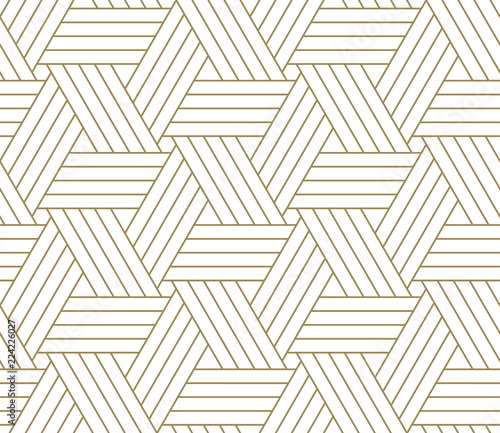 Canvas Prints Geometric Modern simple geometric vector seamless pattern with gold line texture on white background. Light abstract wallpaper, bright tile backdrop.