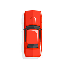 Red Cartoon Muscle Car. Top View. Vector Illustration