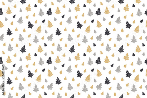 mata magnetyczna christmas tree seamless pattern scribble drawing isolated background