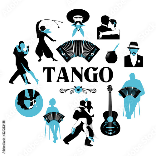 Symbolic silhouettes around the world of Tango Canvas Print
