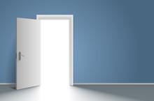 Realistic Open Door In Blue Wall