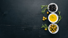 A Set Of Olives And Olive Oil ...
