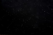 Snowfall On Black Background - Design Element. Abstract Black White Snow Texture On Black Background For Overlay