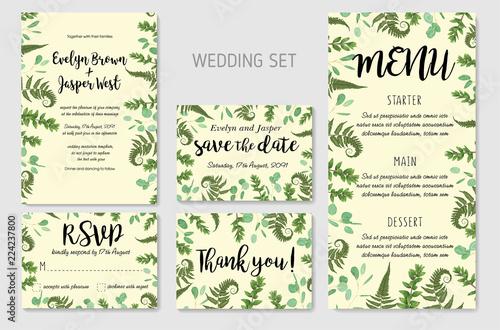 Wedding Invitation, floral invite, thank you, rsvp card Design ...