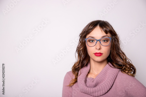 2edf8c963fb Beauty sexy fashion model girl wearing blue glasses