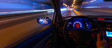 Movement Of The Car At Night A...