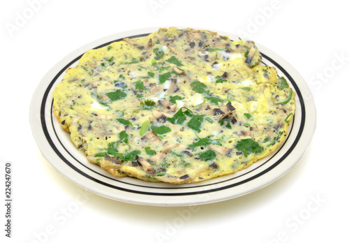 Fotografie, Obraz  Omelet with mushroom and green onions