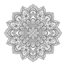 Black Indian Mandala On White Background. Decorative Flower Drawing For Meditation Coloring Book. Ethnic Floral Design Element, Round Hand Drawn Illustration.