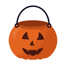 Basket Halloween Pumpkin Isolated Icon