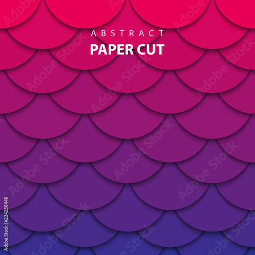 Vector background with pink and blue gradient color paper cut shapes. 3D abstract paper art style, design layout for business presentations, flyers, posters, prints, decoration, cards, brochure cover. Wall mural