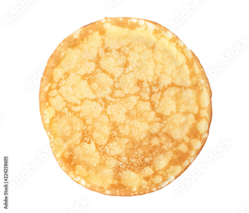 Tasty thin pancake on white background, top view
