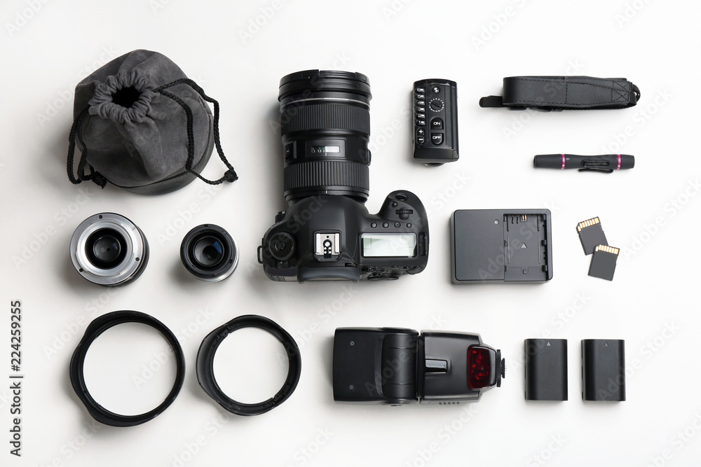 Fototapety, obrazy: Flat lay composition with photographer's equipment and accessories on white background