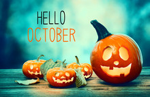 Hello October With Pumpkins On...