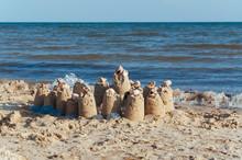 Built Castle Of Sand On The Beach Of The Ocean On A Clear Summer Day A Clear Sunny Summer