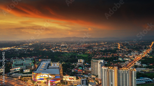 CHIANG MAI, THAILAND- AUGUST 7, 2018 : Aerial Panorama View of Chiang Mai City with sunset and twilight sky..