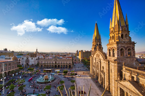 Guadalajara, Jalisc, Mexico-20 April, 2018: Central Landmark Cathedral (Cathedral of the Assumption of Our Lady) located on the central plaza of Guadalajara