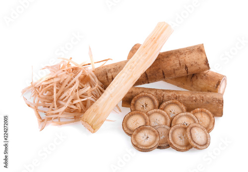 Burdock roots isolated on white background Fototapet