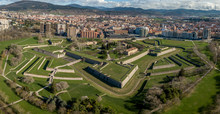 Aerial View Of Pamplona Citadel With Blue Clodu Sky Background On A Spring Morning With Bastions, Moat, Lunette, Ravelin In Navarra Spain