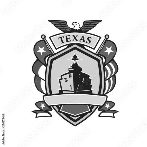 Stampa su Tela Texas Battleship Badge Grayscale