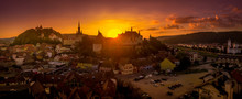 Sunset Panorama Of Medieval Si...