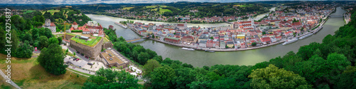 Photo Passau castle and town view aerial panorama Bavaria Germany with the Danube