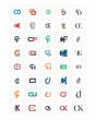 mixed typography alphabet typeset typeface logotype font image vector icon set