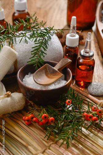 Tuinposter Spa Composition of bath spa treatment on straw mat ,board