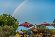 Fredrickburg, Texas - USA / September, 20 2018  Family Reunion Under A Rainbow At A Barn At The Quarry Bed And Breakfast.