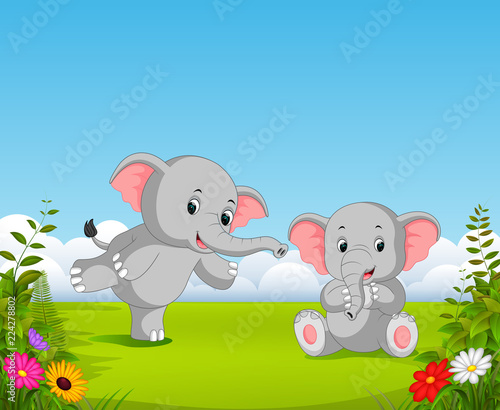 the natural view with two grey baby elephant playing together in the garden