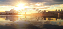 Cityscape Of Sysney Harbour And Bridge With Morning Sunrise Moment