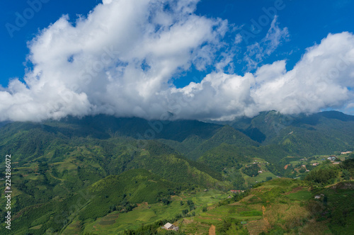 Foto  Aerial landscape of countryside mountain villages