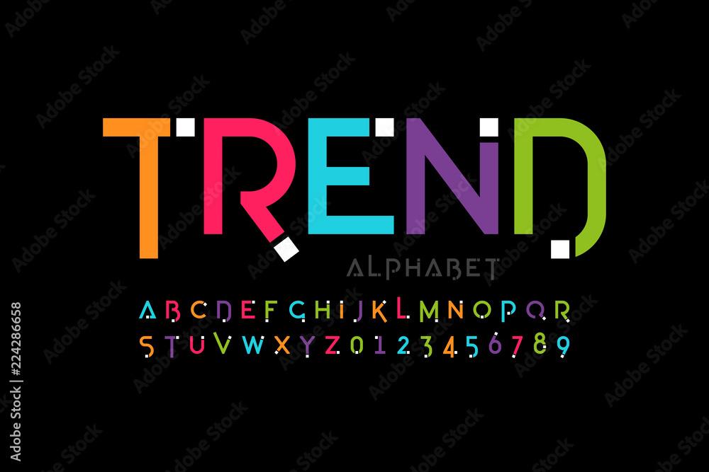 Fototapeta Modern font design, trendy alphabet letters and numbers