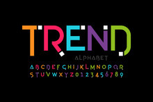 Modern Font Design, Trendy Alphabet Letters And Numbers