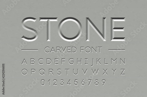 Stone carved font, alphabet letters and numbers Fototapet