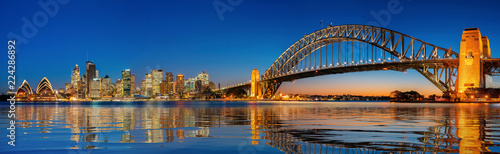 Panorama of Sydney harbour and bridge in Sydney city